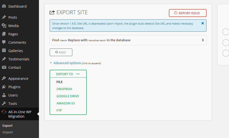 WordPress All-in-One WP plugin Migration Step 1